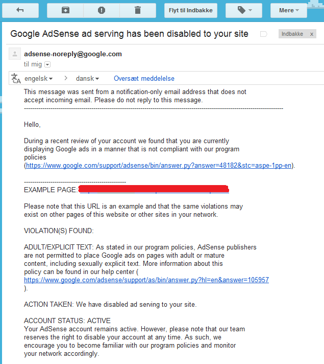 vred mail for google adsense