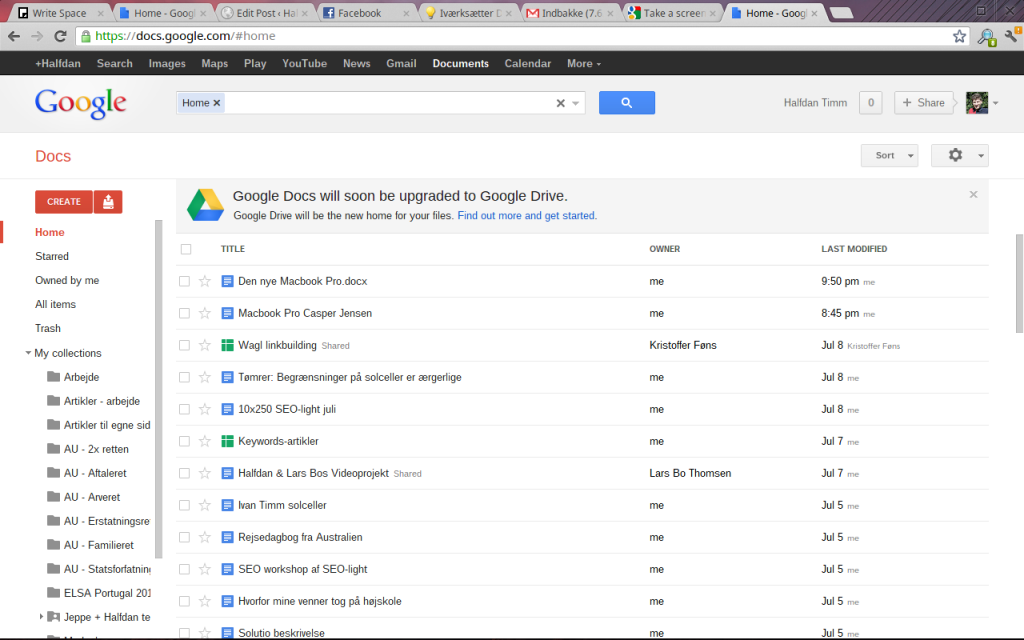 min google docs startskærm med min chromebook
