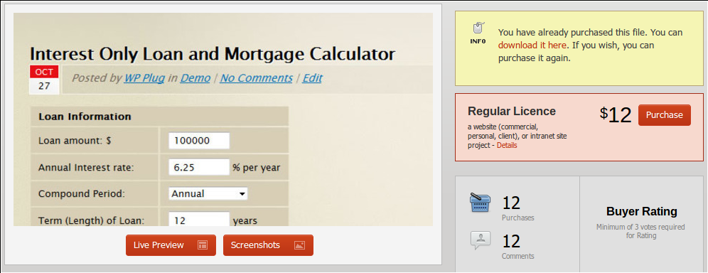 screenshot af udregneren til boliglån fra codecannyon